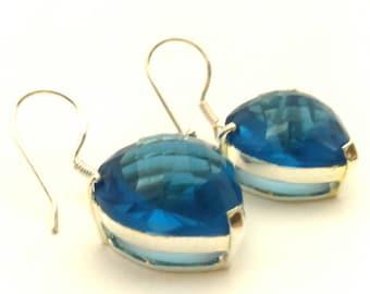 Vintage Heart Cut Form Blue Color Quartz 925 Sterling Silver Earrings Good Condition
