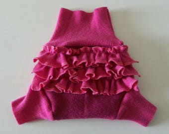 SMALL 100%  Wool Cloth Diaper Cover, Upcycled Wool Soaker, Ruffle Wool Shorties