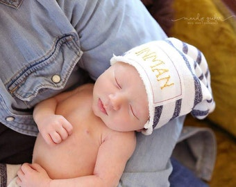 """The """"Inman"""" Hat.... Name Hat, Custom Name Hat, Photo Prop Hat, Beanie, Embroidered Hat, Baby Hat, Baby Name Hat, Newborn Hat, Hospital Hat"""