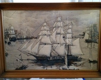 Gorgeous Trapunto is Italian Quilt Sailboat Framed Art