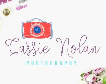 Custom Boutique Premade Photography Studio Logo and Watermark Design with Hand-Drawn Calligraphy Text & Camera Graphic - INF101LD