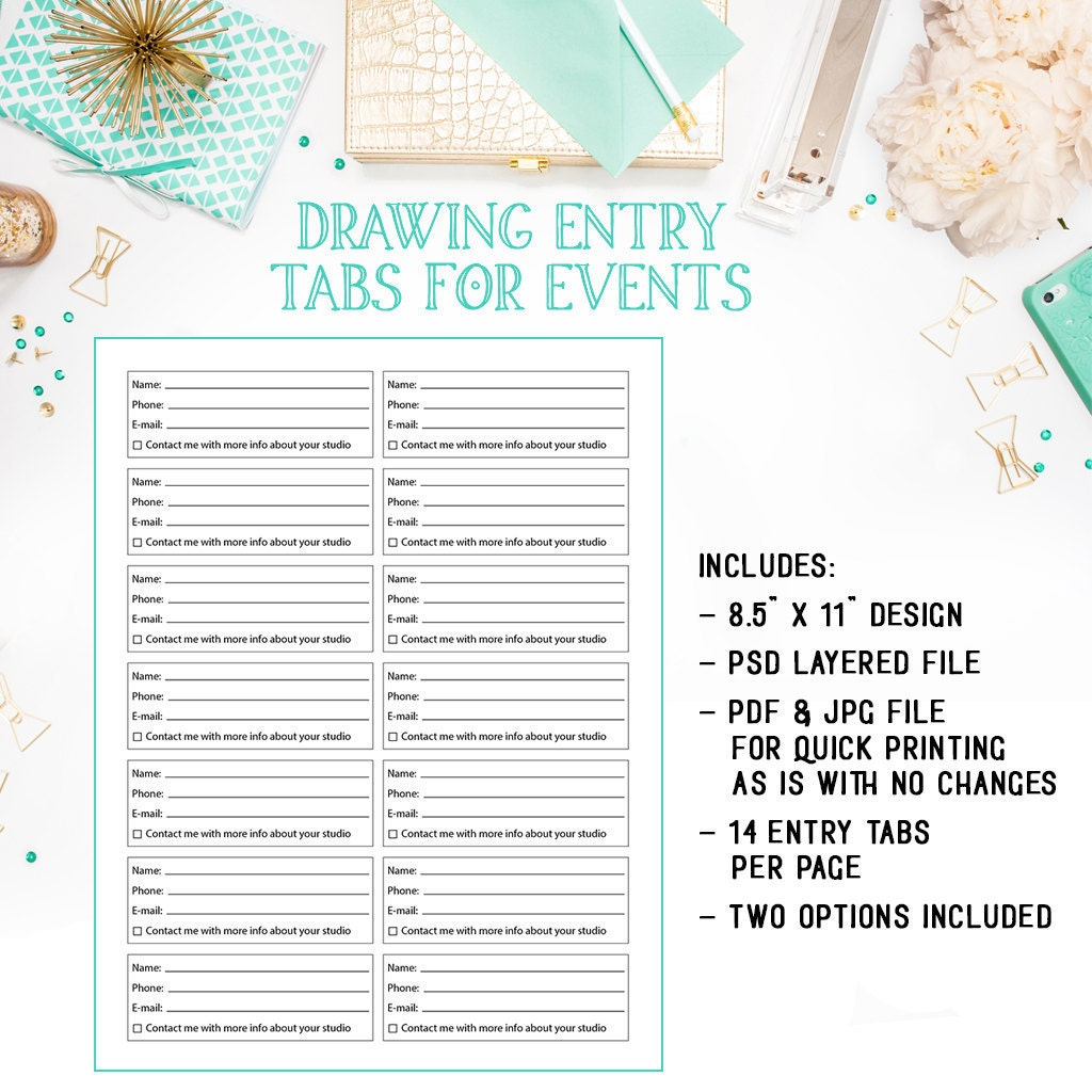 general photography s order form template available for photography studio drawing raffle entry tabs as a layered photoshop psd file plus general business jpg pdf entry tab file inf106bf