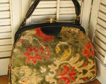 Vintage 50s 60s Retro Mid Century Julius Resnick JR Miami Chenille Handbag Made in USA Chenille Bag Floral Chenille Purse with Change Purse