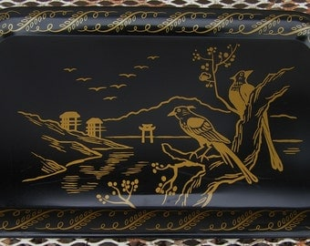 Vintage Retro Kitch 50s Fun Metal TV Snack Serving Tray Lap Tray in Black and Gold with Asian Garden Design Mid Century