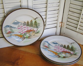 Set of 4 Vintage Hayasi Kutani Dinner Plates With Cherry Blossom Trees and Mt Fuji 60s Made in Japan