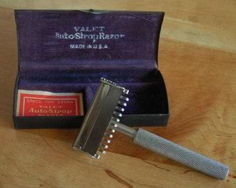 Vintage Valet Auto Strap Razor in Original Metal Box with Purple Velvet Interior Made in USA