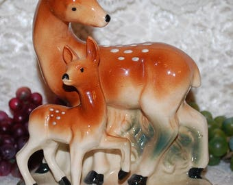 "Japan Marked Mama Deer & Baby Fawn 6-3/4"" Ceramic Planter"