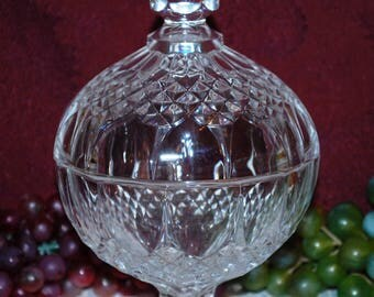"Clear Crystal 6"" Covered Diamond Pattern Pedestal Candy Dish"