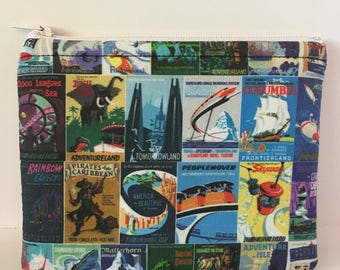Disneyland-Inspired Attraction Posters Handmade Fabric Medium-Sized Zipper Pouch