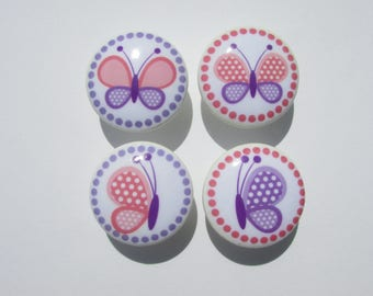 Pink and Purple Butterfly Dresser Drawer Knobs Pulls Set of 4