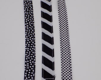 Black and White Pacifier Clips(set of 3)