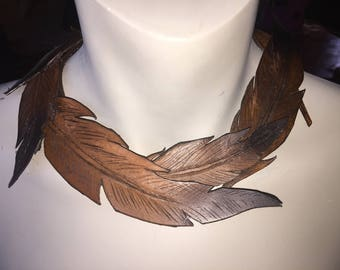 All genuine leather feather necklace collar choker Hand tooled