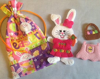 Girl Easter Bunny Felt Paper Doll and Clothes