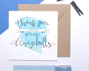 Thank your card - appreciation card - funny thank you card - Thank you for everything. you are amazeballs