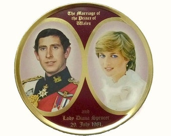 Royal Wedding Tin Princess Diana & Prince Charles Marriage Collectible 80s Royal Family Lady Di Anniversary Jewelry Box Trinket Keepsake Tin