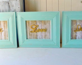 Aqua Framed Art, Live Laugh Love Wooden Framed Art, Teal Beach Wall Hangings, Set of 3 Framed Signs, Shabby Chic, Cottage Chic Home Decor