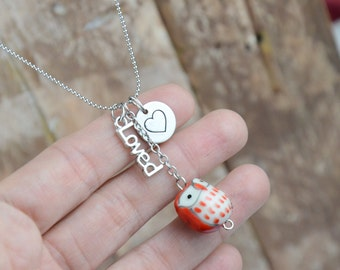 Porcelain Owl Bead Necklace with Love and Heart Charm