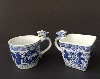 Asian Chinese Dragon Handle Tea Cup