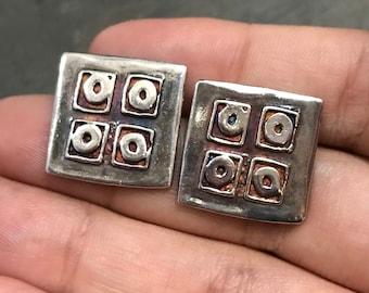Vintage Sterling silver handmade earrings, 925 silver geometrical shaped studs, stamped 925