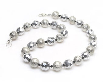 Silver Beaded Necklace, Czech Glass Necklace, Silver, Chunky Necklace, Fire Polished, Elandra Designs