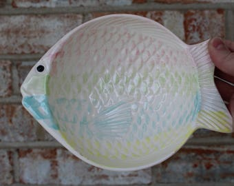 Vintage Knobler Rainbow Watercolor Fish Dish - Candy bowl