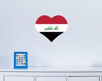 Heart Shaped National Flag of Iraq Vinyl Wall Art