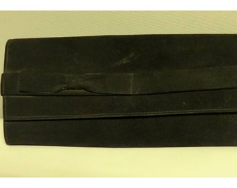 Vintage 1940's clutch/ pochette  black suede