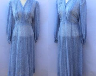 Original 1930's 1940's Sheer Cotton Blue and White Paisley Print Dress UK 10