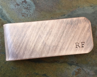 Hand Stamped Copper Personalized Money Clip - Groomsmen, Father's Day, Dad, Grandpa