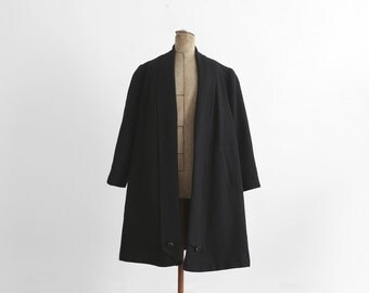 1940s Long Black Coat - Wool - Made In France