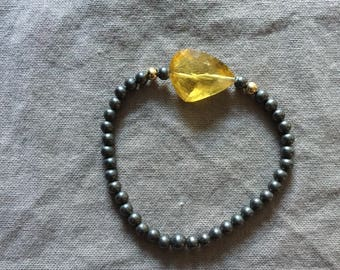 Oxidized Silver Bead Stretch Bracelet with Citrine