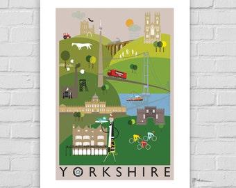 Yorkshire County ilustración impresión A4/A3/A2 cartel ilustrado, Whitby, York, Emley Moor, té de Yorkshire, Skipton, Bettys, Tour de Yorkshire