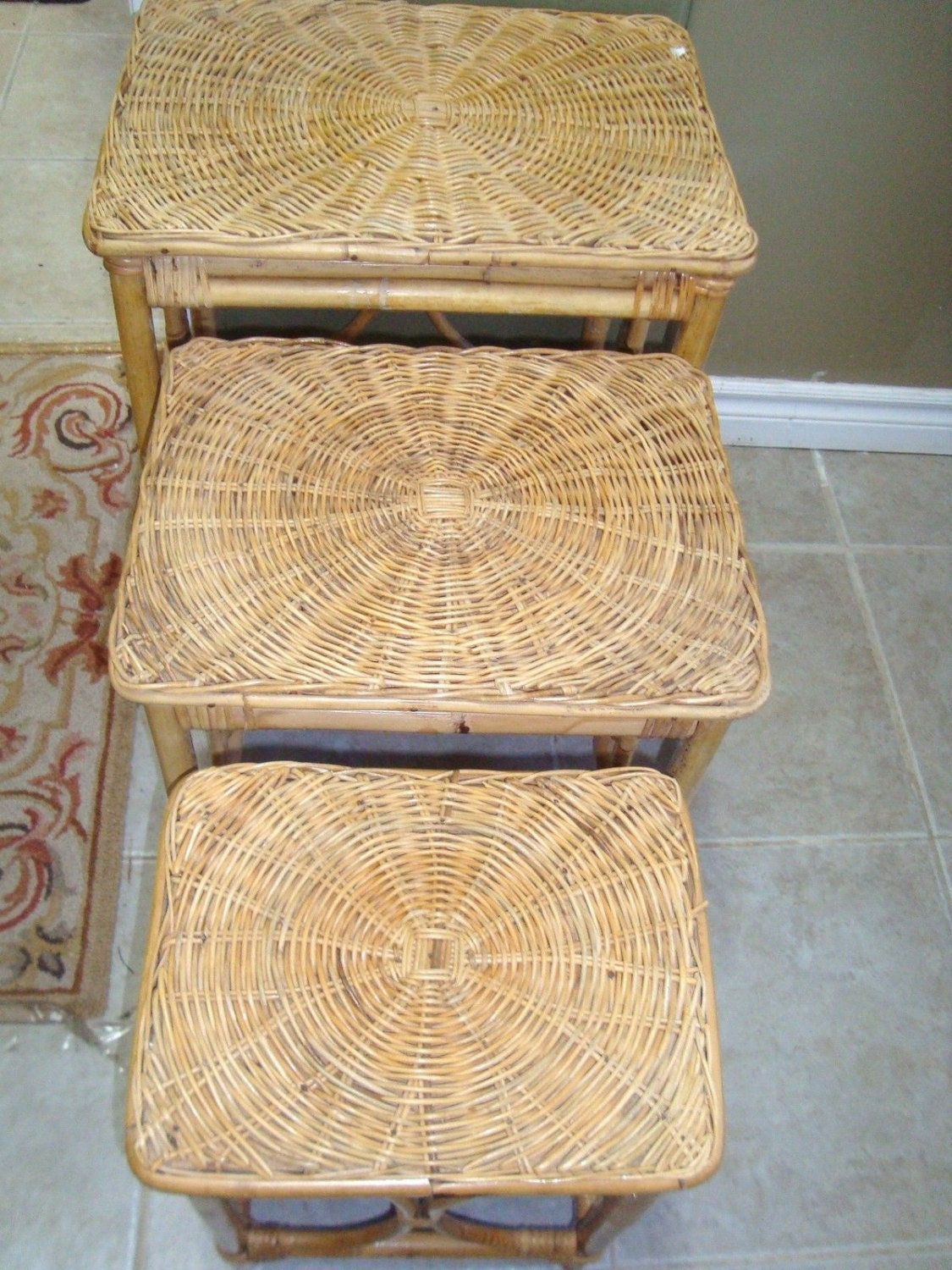 Rattan Nesting Tables ~ S vintage wicker nesting tables table w