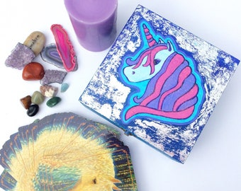 Unicorn Wooden Box Keepsake Box Silver Metallic Deep Blue Tarot Card Angel Card Oracle Card Spiritual Gift Wooden Jewellery Box
