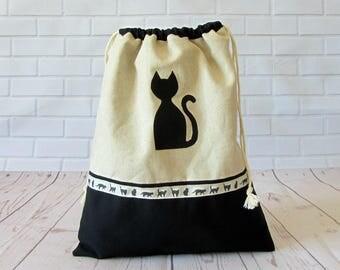 Cat drawstring bag, project bag, black cat travel bag, lingerie bag, made in France, fabric shoe bag, storage bag,