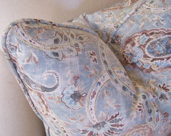 CUSTOM PIPING!  Richloom Blue/Blue Gray Paisley Designer Pillow with Piping, Decorative Pillows, Lumbar Pillows, Throw Pillow
