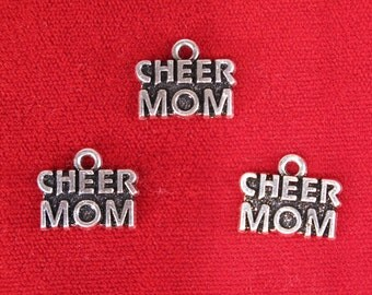 """BULK! 15pc """"Cheer mom"""" charms in silver style (BC1171B)"""