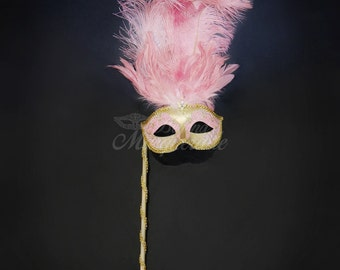 Masquerade Mask Gold Pink, Mardi Gras Mask, Mask with Handheld Stick, Mardi Gras Masks, Masquerade Ball, Handheld Stick Mask