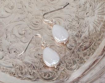 Pear Shaped Freshwater Pearl Drop Sterling Silver Earrings