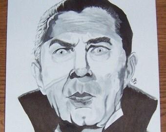 Dracula Bela Lugosi 6x9 Drawing Universal Horror
