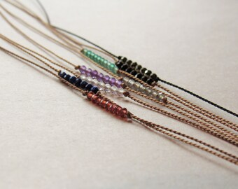 tiny GEMSTONE tie on bracelet silk cord friendship bracelet, wish btacelet, delicate stacking bracelet beaded layering bracelet