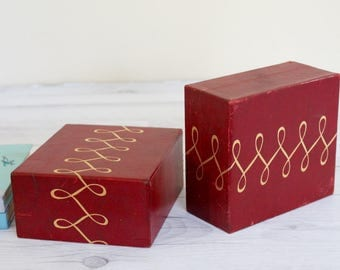 1950s Red Leather Bookends; Mid Century Mod; Retro Office Decor