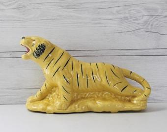 Mid Century Ceramic Tiger Planter, Vintage Pottery Tiger Planter