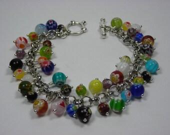 Millefiori Glass Bead Dangles Bracelet