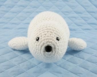 CROCHET PATTERN: Baby White Seal - amigurumi, stuffed animal, baby seal