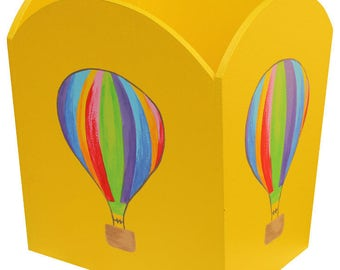 Hot Air Balloon Waste Paper Bin / Yellow Nursery Bin