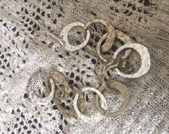 Silver pounded Circle Bracelet