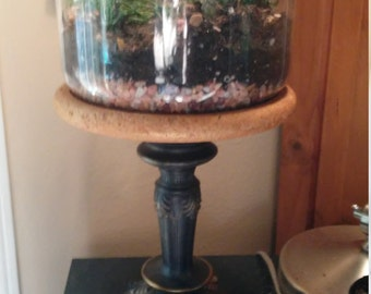 Planter/Glass Terrarium On Pedestal