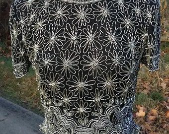 Adrianna Papell Beaded top,PS,Sequined top, Black,Silver, Silk ,Evening Top,formal