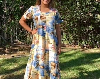 Long Hawaiian dress, medium, cotton dress, waterfalls, blue, tan